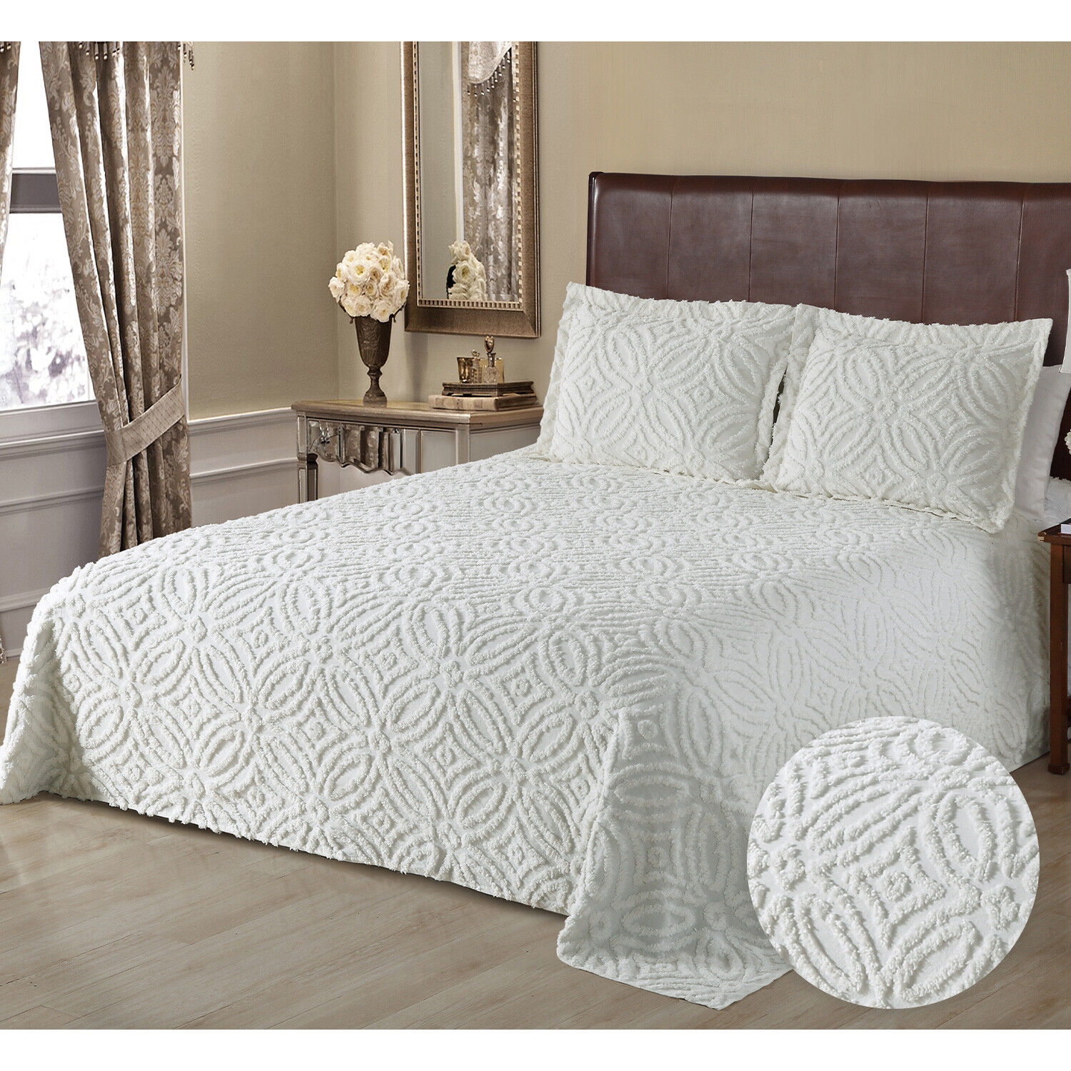 100% Cotton Wedding Ring Chenille Bedspread or Sham Full Queen King, Ivory Bedding