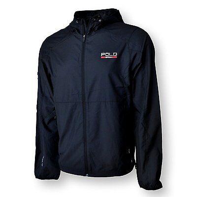 Polo Ralph Lauren Jacket Mens M Windbreaker Hoodie Sport Performance BLACK NEW