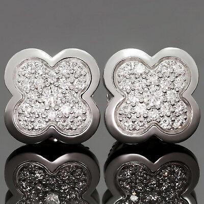 VAN CLEEF & ARPELS Pure Alhambra Diamond 18k White Gold Stud Earrings