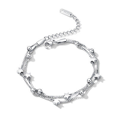 Edelstahl Damen Armband Stern Kugel Armkette silber Doppelkette 17 bis 21,5 cm