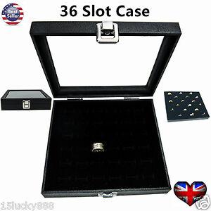 Ring Display Case Organizer Glass Top Jewelry Storage Box 36 Slot Tray Holder