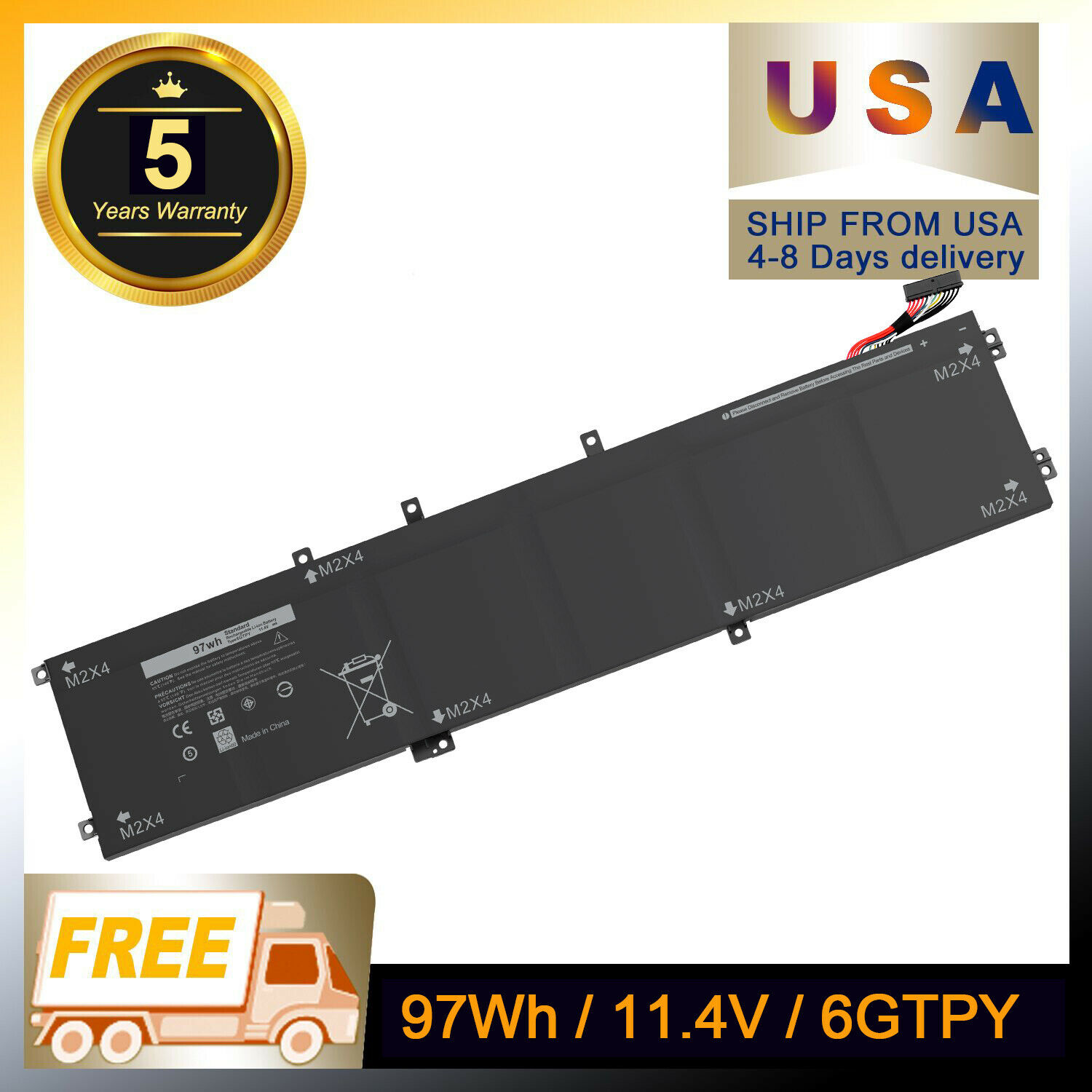 6GTPY Laptop Battery 97Wh For Dell XPS 15 9560 9550 Precision 5510 I7-7700HQ - $45.88