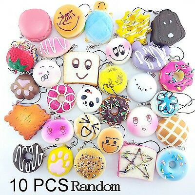 10/20/30 PCS Food Resin Flatback Random Kawaii Mini Soft Squishy Foods Panda ...