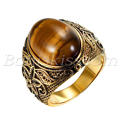 Men Vintage Gold Stainless Steel Oval Tiger Eye Stone Patterned Band Ring #7-#12 - Eye Rings