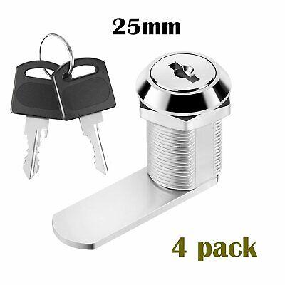 4x 25mm Cam Lock Door Cabinet Locker 2 Keys Mail Box Drawer Cupboard Wardrobe