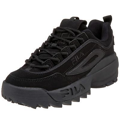 Fila Disruptor II 2 All Black Mens Fashion Suede Shoes Sneakers Hi Sole Sizes -