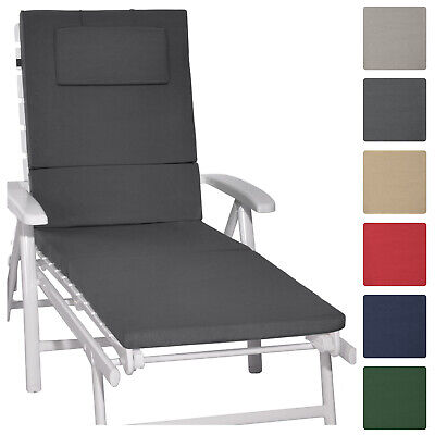 Sunlounger Cushion 200x60x5cm Garden UV Resistant Steamer Recliner Pad Dark Grey