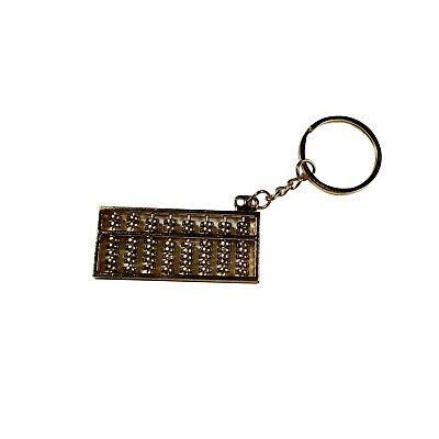 Chinese Calculator Abacus Gold Color Keychain
