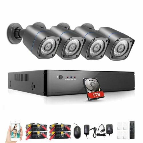 Rraycom 8CH Security Camera System HD-TVI 1080P DVR with 4X HD Cameras