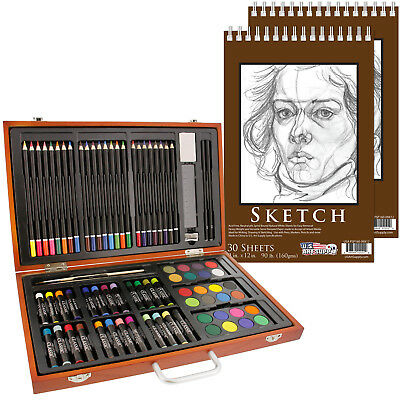 US Art Supply 82 Piece Deluxe Artist Studio Creative Wood Box Set