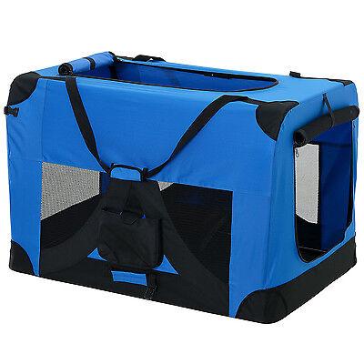 PRO.TEC® Hundetransportbox XXXL BLAU Faltbar Transportbox Hunde Box Trage Tasche