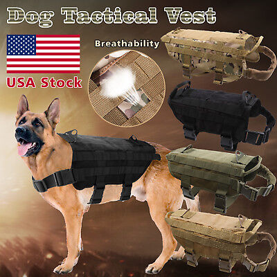 Tactical Police K9 Military Dog Vest Harness Service Canine Nylon Service MOLLE  ()