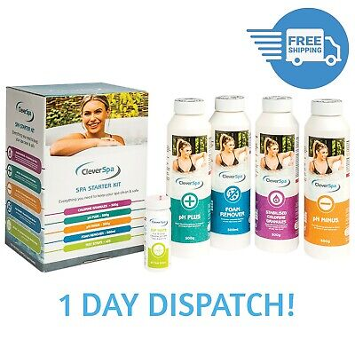 CleverSpa Starter Chemicals Kit, ClearWater Lay-Z Spa, Chlorine, pH Plus & Minus