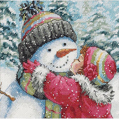 Dimensions Needlecrafts 8833 A Kiss for Snowman Counted Cross Stitch Kit