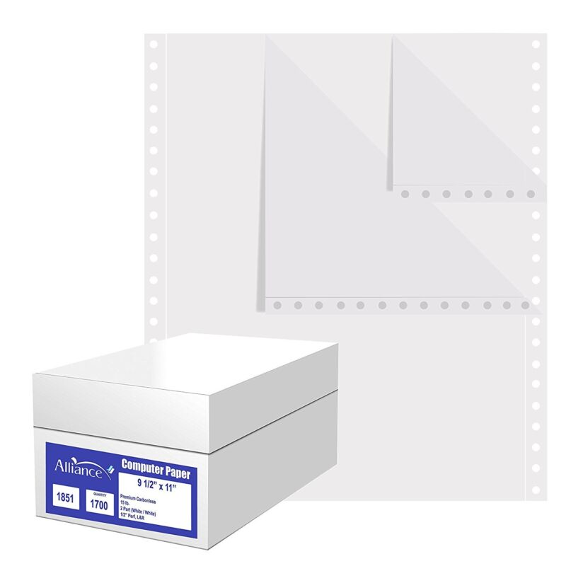 "Continuous Computer Paper 9.5""x11"" L&R Perf Blank 2-Pt White/White 15lb 1700/Ctn"