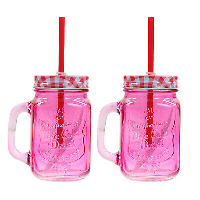2pcs Red Vintage Mason Drinking Glass Jars Mugs With Lid Straw Juice Cocktail