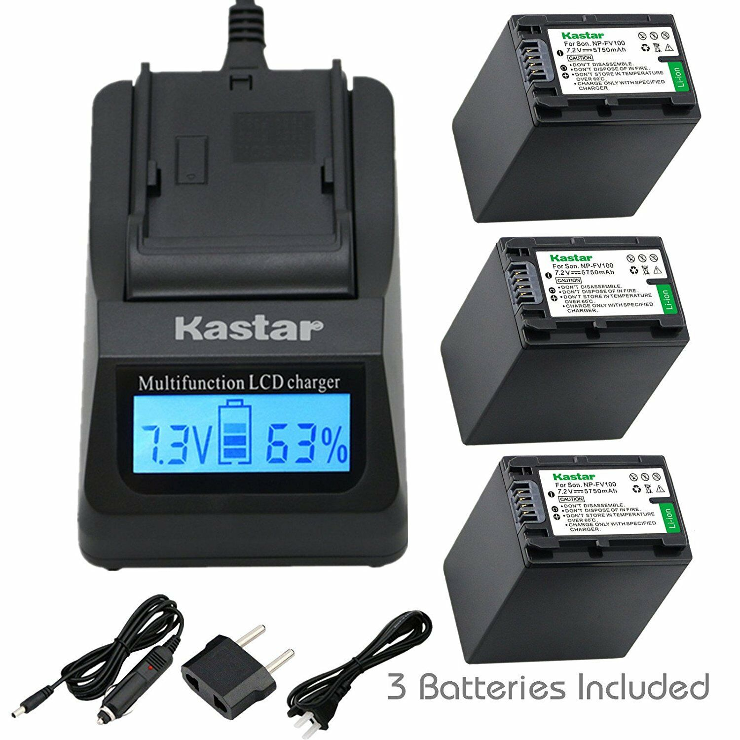 Kastar Np-fv100 Battery&fast Charger For Sony Hdr-xr155 H...