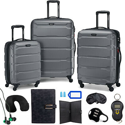 Samsonite Omni Hardside Nested Luggage Spinner Set,Charcoal w/10pc Accessory Kit