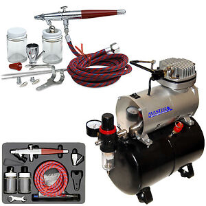 Paasche VL SET Airbrush System Kit Air Compressor Tank T-Shirt Hobby Cake Tattoo