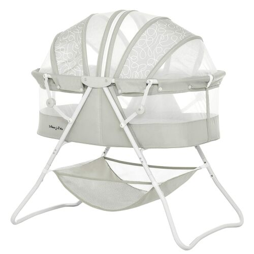 Dream On Me Karley Bassinet in Cool Grey Portable with mattress Pad