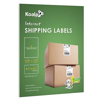220 Half Sheet 2 Labels Shipping 8.5x5.5 Self Adhesive Inkjet Laser FBA Mailing Laser Label Sheet