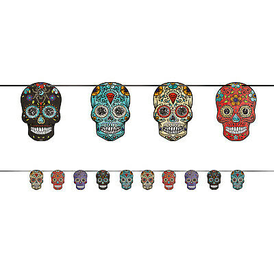 Halloween Colourful Sugar Skulls Bunting Day of the Dead Party Banner Decoration ()