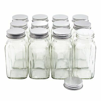 U-Pack 12 pieces of French Square Glass Spice Bottles 6 oz Spice Jars with