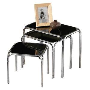 Set Of 3 Rectangle Nesting Tables With Black Glass Chrome Legs Gnt01b Ebay