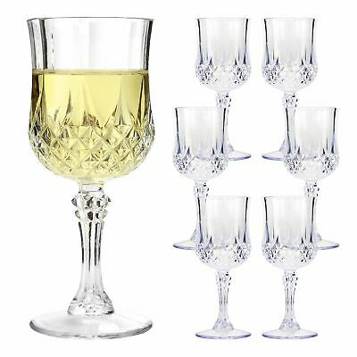 6 x VINTAGE CRYSTAL WINE GLASSES PLASTIC PICNIC MARINE ACRYLIC GARDEN GOBLET
