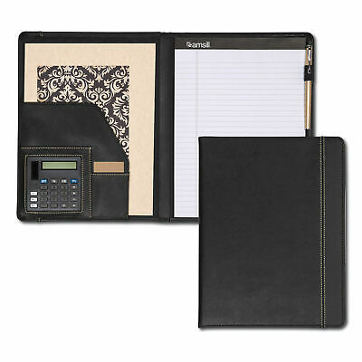 Samsill Pad Holder Wcalculator Leather-lookfaux Reptile Trim Writing Pad Black