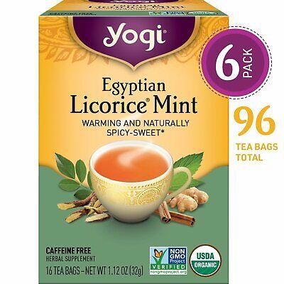 Yogi Tea Egyptian Licorice Mint Tea Bags 6 Pack, 96 Tea Bags (16 Ct per Box)