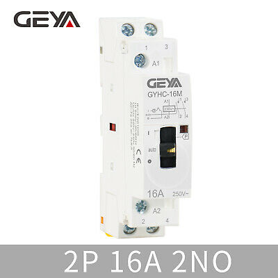 GEYA Manual Household Contactor 2P 16A 2NO 220V AC Modular Contactor