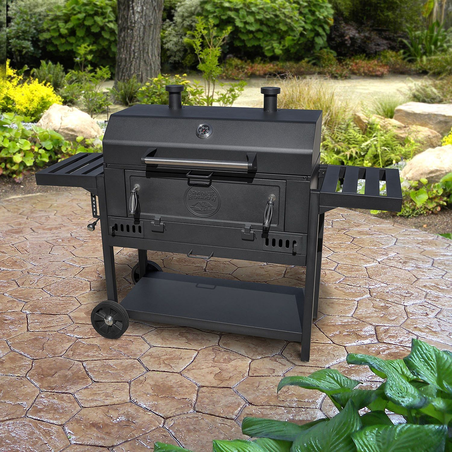 smoke hollow pro series heavy duty deluxe charcoal wagon bbq grill ebay. Black Bedroom Furniture Sets. Home Design Ideas