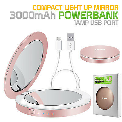 Cellet Light Up Make-Up Compact Mirror Powerbank 3000mAh Battery for - Cellet Light