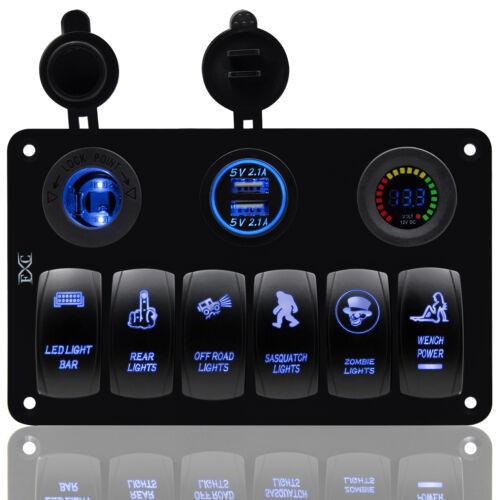 6 GANG WATERPROOF CAR MARINE BOAT CIRCUIT BLUE LED ROCKER SWITCH PANEL BREAKER !