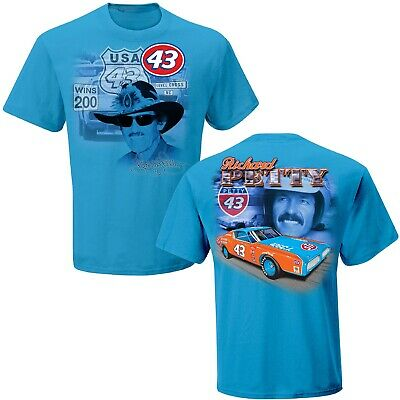 Richard Petty #43 STP Checkered Flag 2019 Nascar Legacy Blue Tee Adult XXL - Blue Checkered Flag