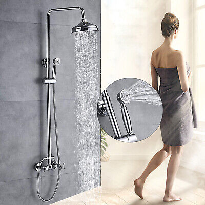 Chrome Finish Bathroom Shower Faucet 8 inch Rain Mixer With Hand Sprayer Tap