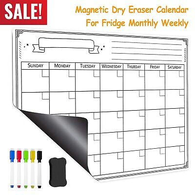 Magnetic Refrigerator Whiteboard Dry Erase Monthly Calendar W Eraser And 5 Pens