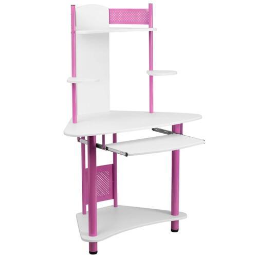 Corner Computer Desk with Storage Hutch & Sliding Keyboard Tray in White/Pink