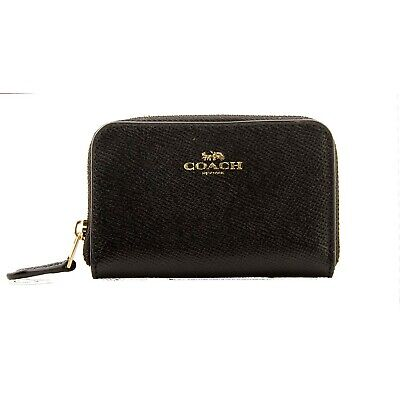 NWT COACH Small Zip Around Coin Case Wallet Card Pouch Leather Black Gold F27569