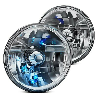 "For Ford F-150 75-79 Lumen 7"" Round Chrome Diamond Crystal Headlights H6024"