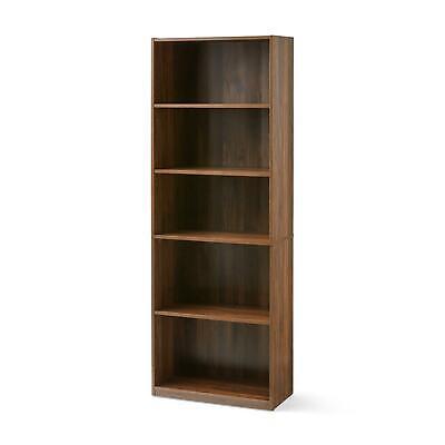 "71"" Tall Wood 5 Shelf Bookcase Sturdy Closed Back Storage Shelves Bookshelf Case"