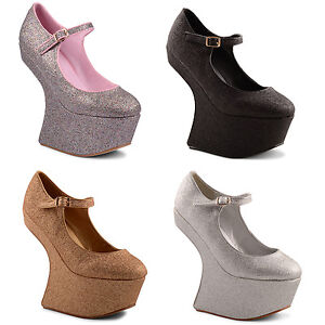 New-Ladies-Glittery-Heel-Less-Mary-Jane-Platform-Wedge-Court-Shoes-Size-3-8