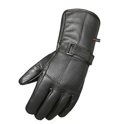 Premium Cowhide Leather Motorcycle Gloves Biker Riding Cruising Winter Black