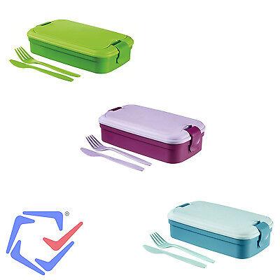 Contenitore con Posate Lunchbox Curver Lunch & Go 3 Colori- Verde Blu Viola