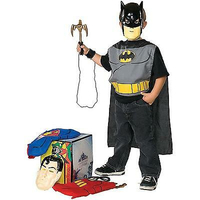 DC Superhero Child Boy Dress up Trunk Superman Batman and Robin Trio Costume Kit
