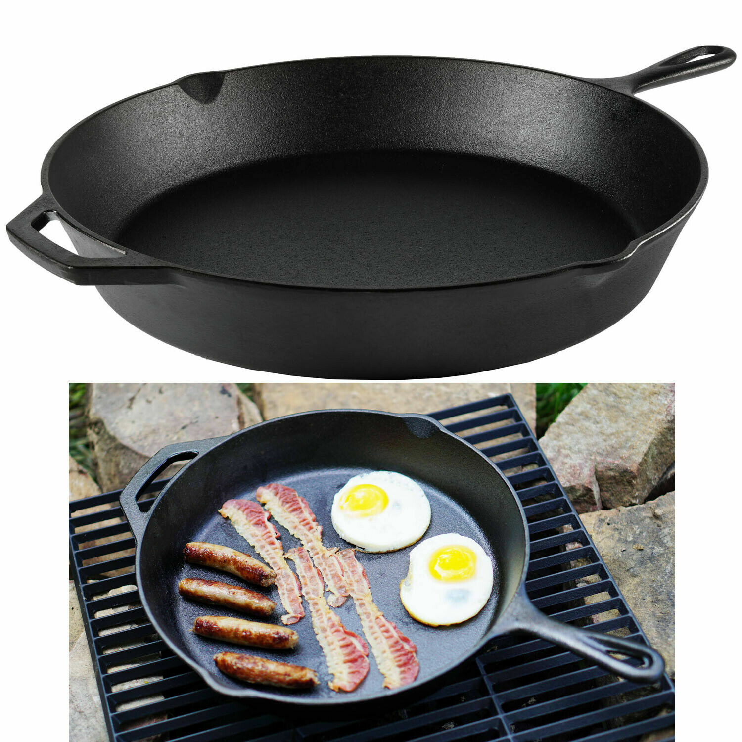 pre seasoned 12 cast iron skillet