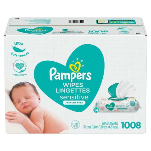 Pampers Sensitive Skin Baby Wipes bulk 1008 ct 14 Refill Packs *BEST DEALS IN US