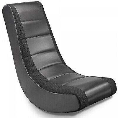 Floor Seating Rocker Gaming Chair Classic Black Cushioned Video Gamer Seat New