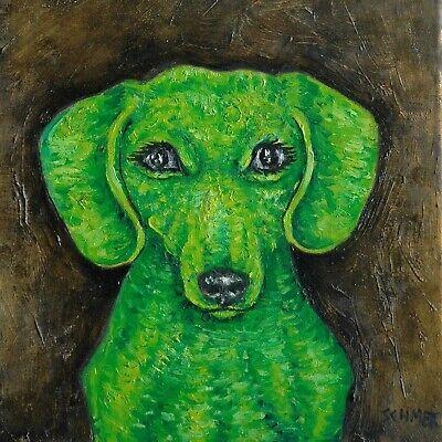 GREEN dachshund dog art tile coaster impressionism animals artist gift new for sale  Guyton
